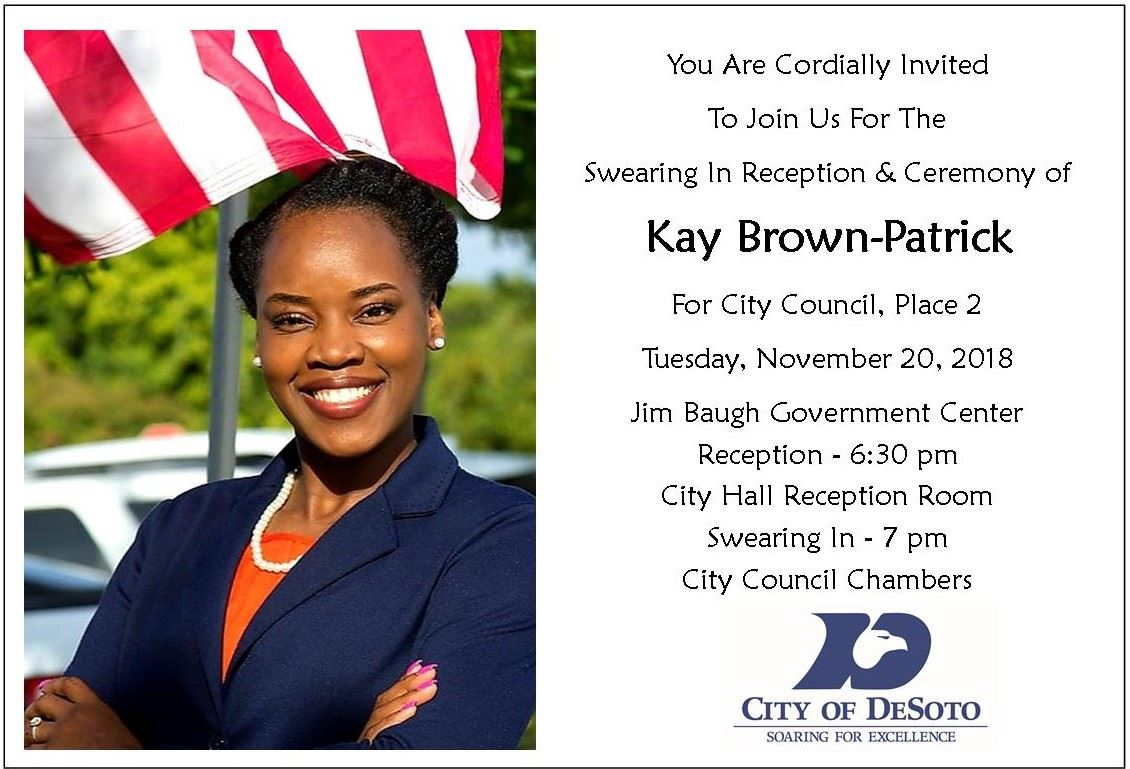 Kathy Brown-Patrick Swearing In Invitation 2018