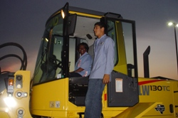 Person on front-end loader